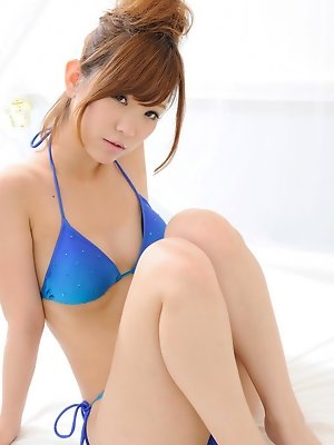 Ichika Nishimura Asian in blue bath suit has such apettizing body